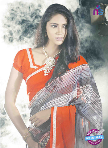 NS11026 Orange and Slate Grey Designer Georgette Saree