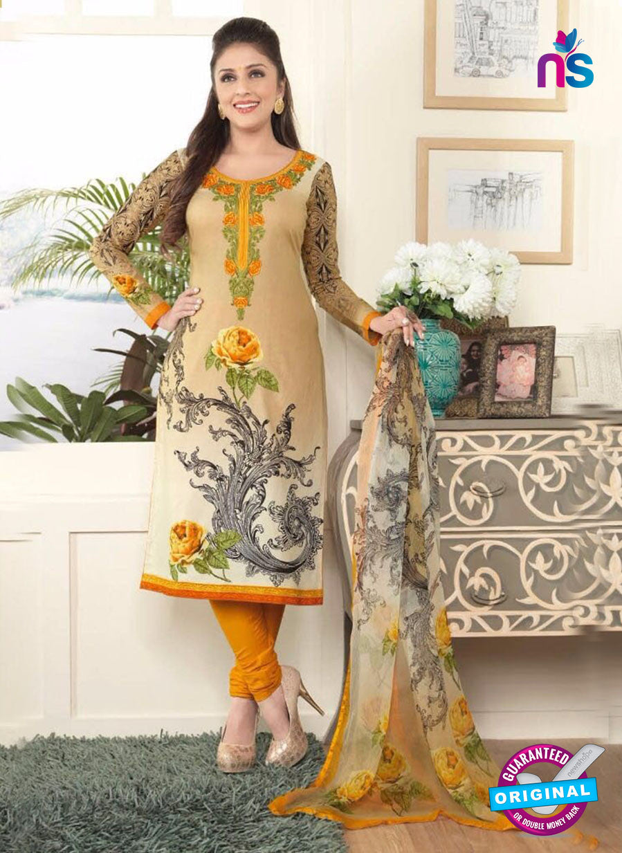 Rakhi4401B Beige & Yellow Color Glace Cotton Designer Suit