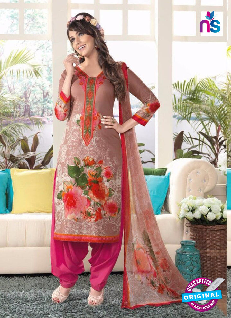 Rakhi4402B Pink & Grey Color Glace Cotton Designer Suit
