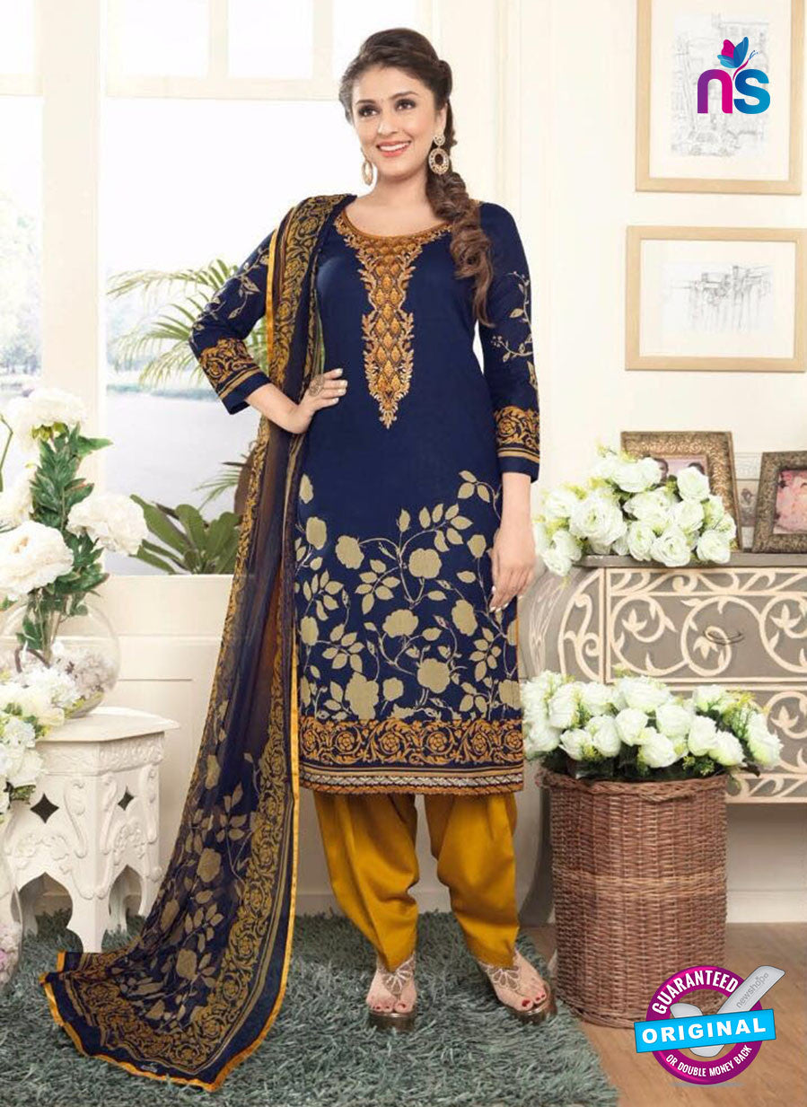 Rakhi4403A Blue & Yellow Color Glace Cotton Designer Suit