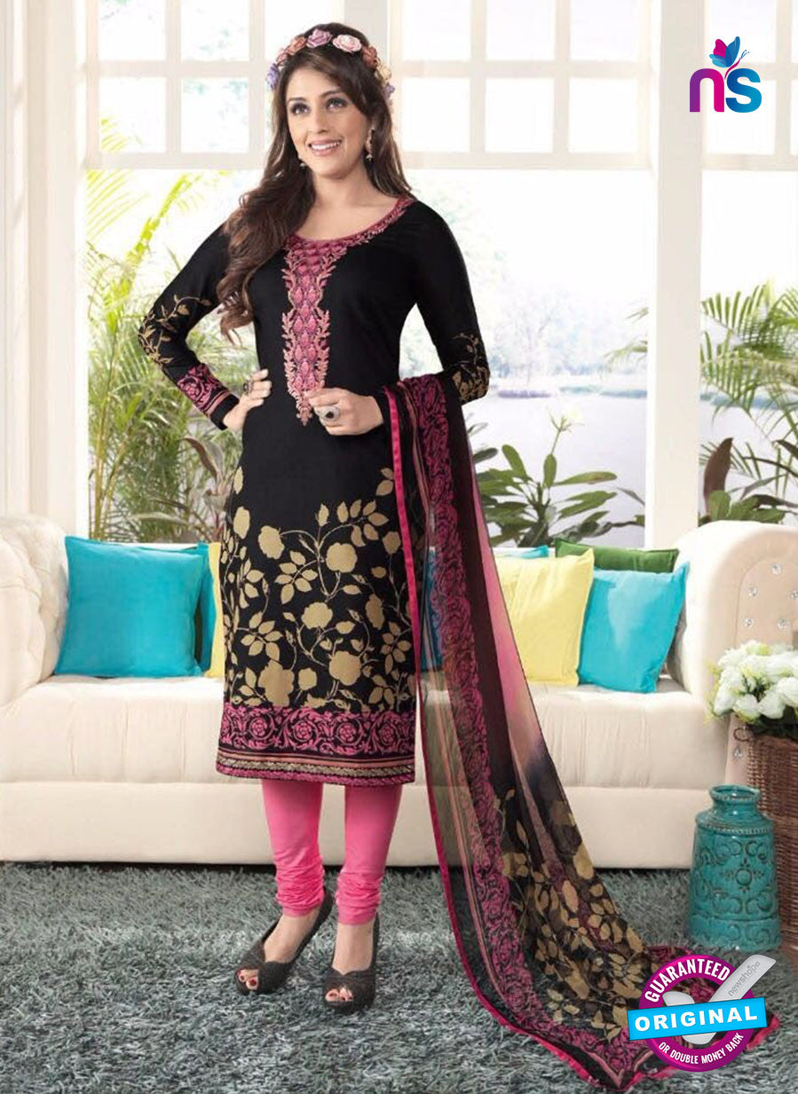 Rakhi4403B Black & Pink Color Glace Cotton Designer Suit