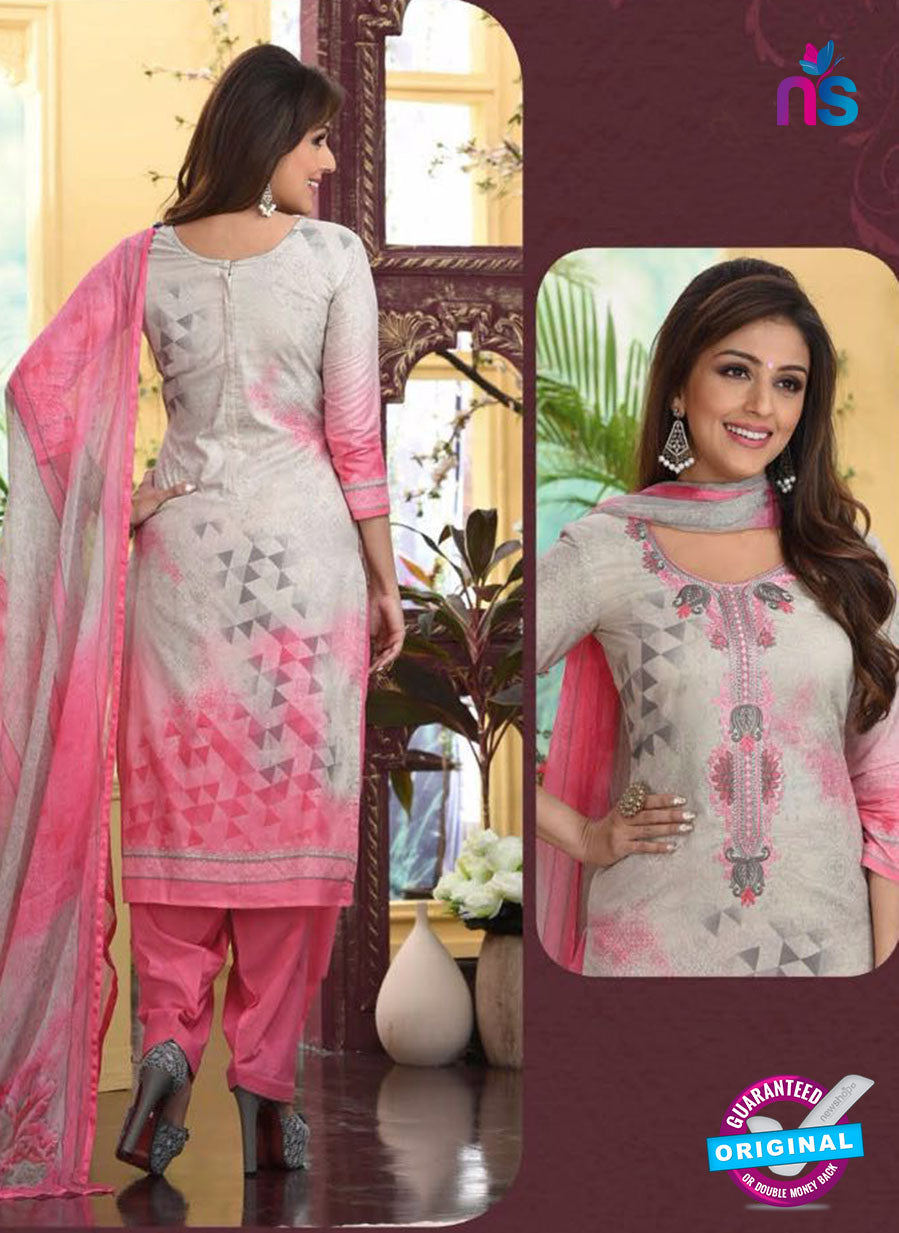 Rakhi4408a - Beige & Pink Color Glace Cotton Designer Suit