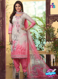 Rakhi4408A - Grey & Pink Color Glace Cotton Designer Suit