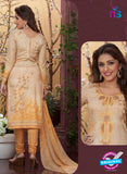Rakhi4408B - Beige & Yellow Color Glace Cotton Designer Suit