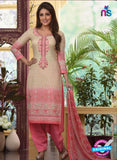 Rakhi4409A - Pink & Beige Color Glace Cotton Designer Suit