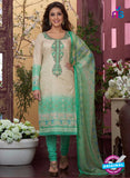 Rakhi4409B - Beige & Green Color Glace Cotton Designer Suit