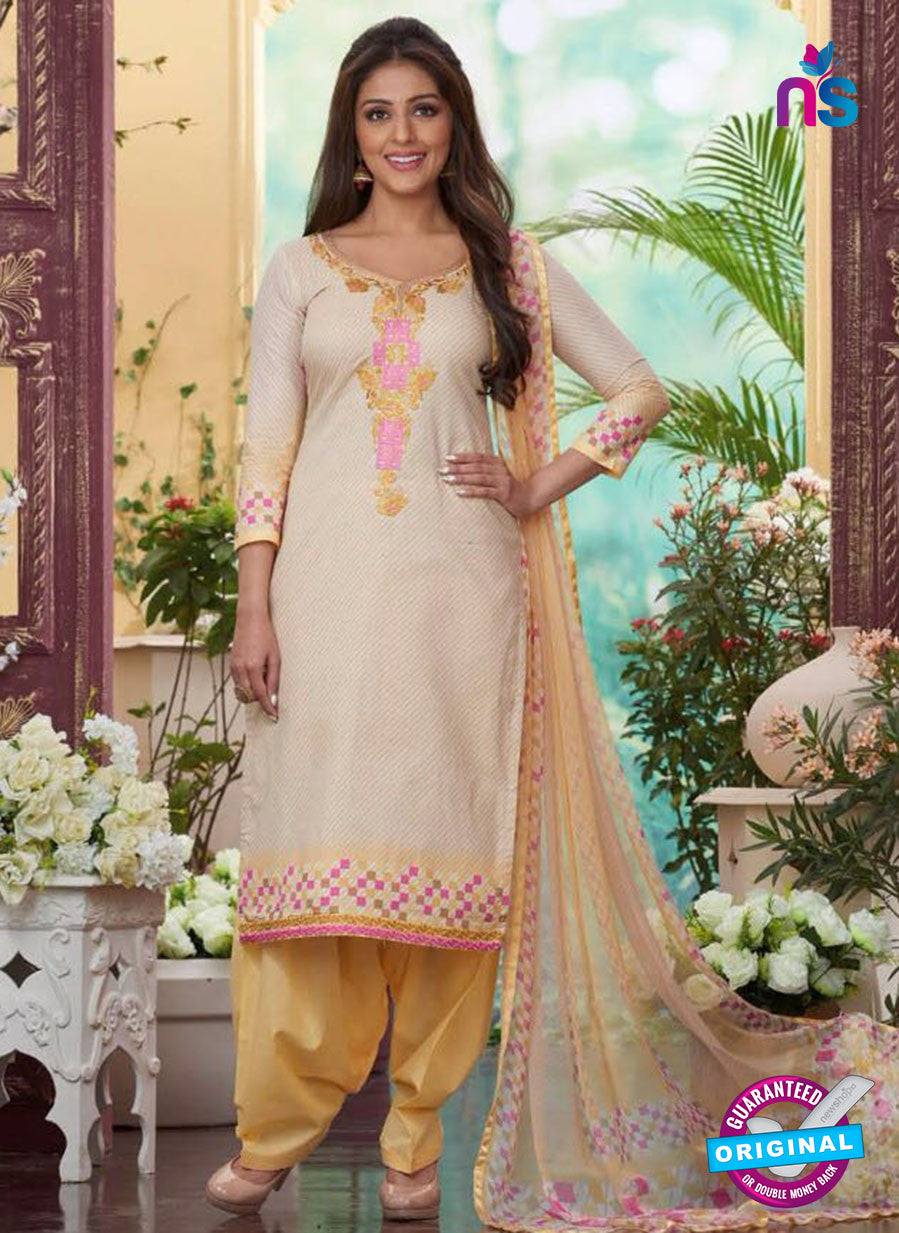 Rakhi4410A - Blue & Yellow Color Glace Cotton Designer Suit