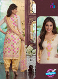 Rakhi4410A - Beige & Yellow Color Glace Cotton Designer Suit
