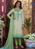 Rakhi4410B - Green & Beige Color Glace Cotton Designer Suit