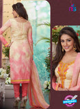 Rakhi4411A - Pink & Beige Color Glace Cotton Designer Suit