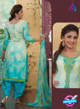 Rakhi4411B - Blue & Beige Color Glace Cotton Designer Suit