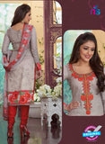 Rakhi4412A - Red & Grey  Color Glace Cotton Designer Suit