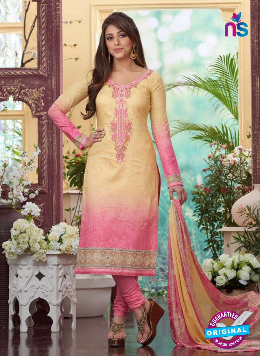 Rakhi4413A - Yellow & Pink Color Glace Cotton Designer Suit
