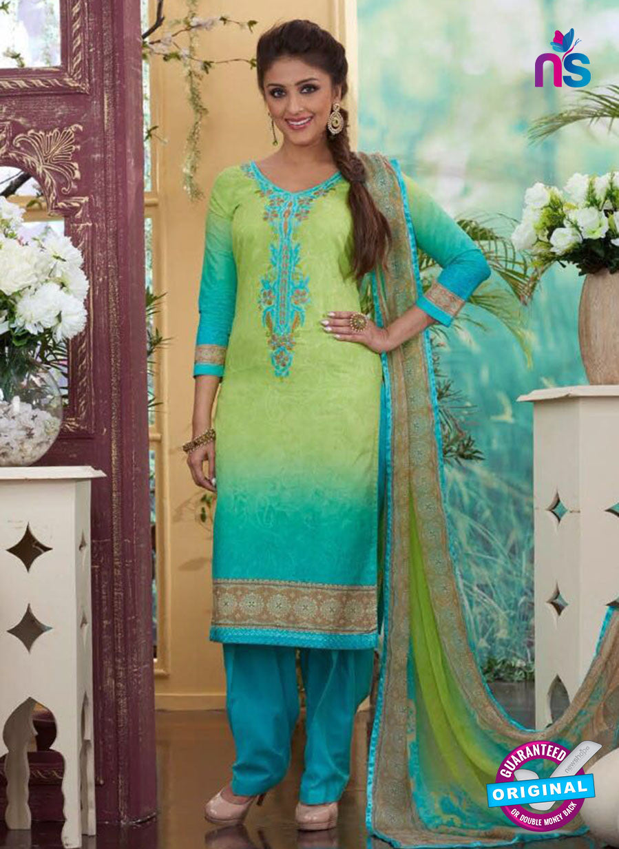 Rakhi4413B - Blue & Yellow Color Glace Cotton Designer Suit