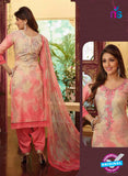Rakhi4414A - Beige & Pink Color Glace Cotton Designer Suit