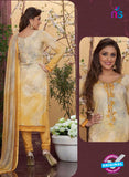 Rakhi4414B - Yellow & Grey Color Glace Cotton Designer Suit
