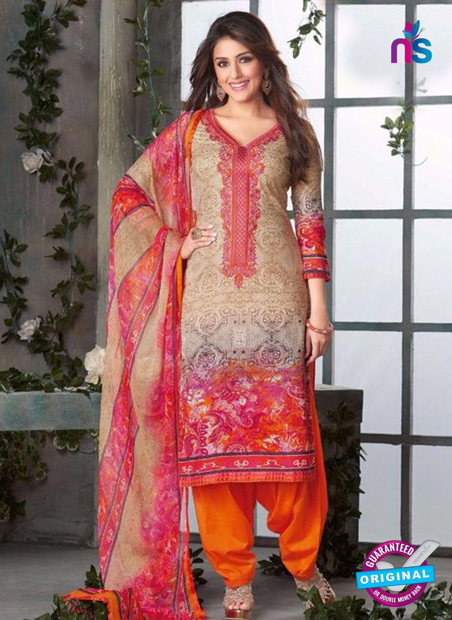 Rakhi-4418A Orange and Beige Color Cotton Designer Suit