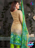 Rakhi-4418B-Green and Beige Color Cotton Designer Suit