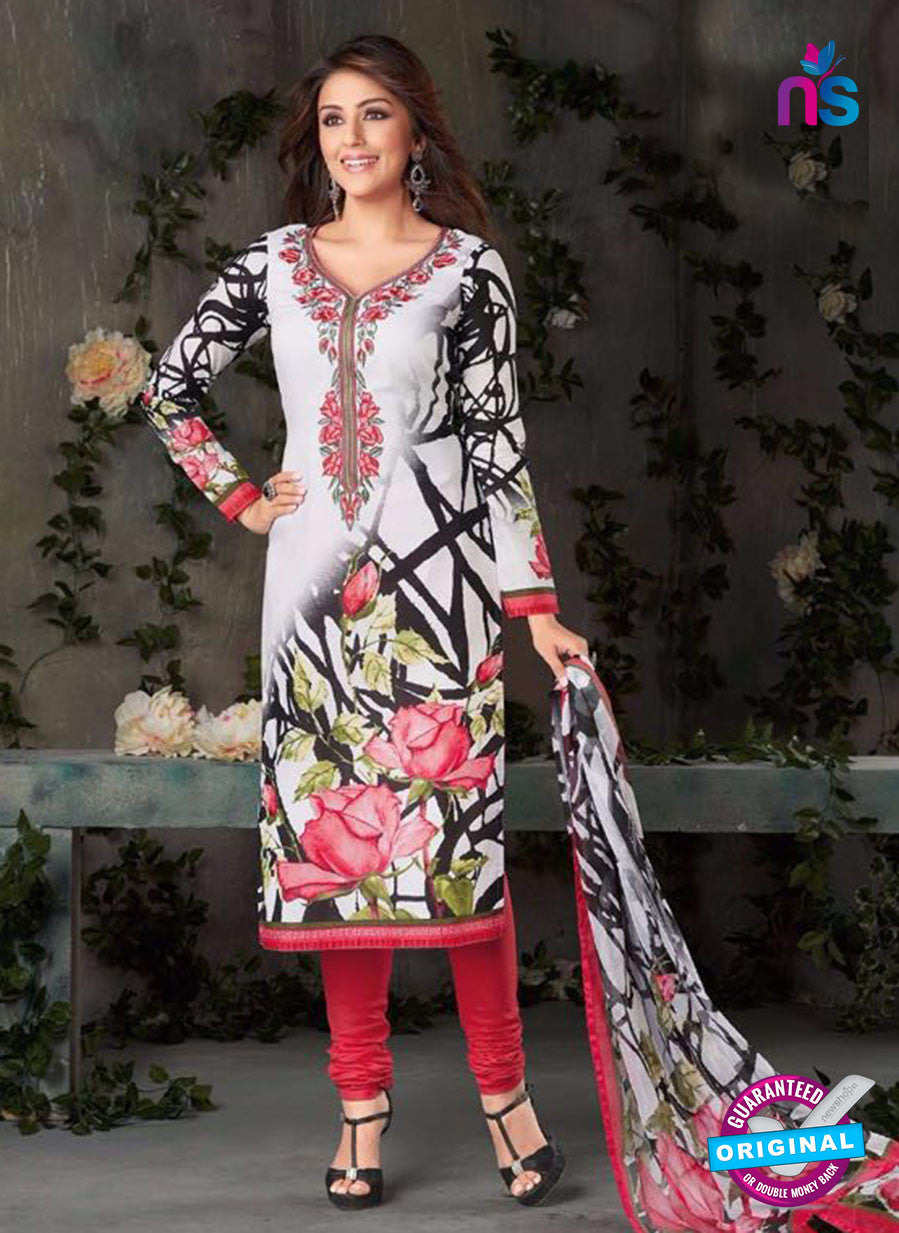 Rakhi-4419A-Gray and Red Color Cotton Designer Suit