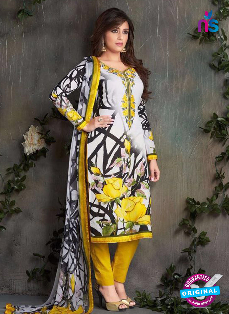 Rakhi-4419B-Gray and Yellow Color Cotton Designer Suit