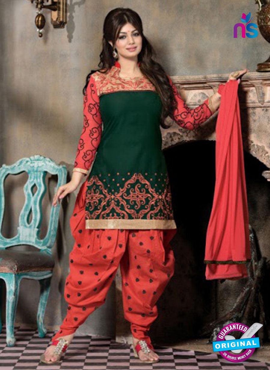 SC 12314 Green and Red Cotton Patiala Suit