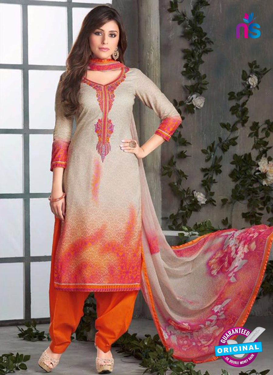 Rakhi-4420A-Orange and gray Color Cotton Designer Suit