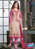 Rakhi-4422A-Pink and Beige Color Cotton Designer Suit