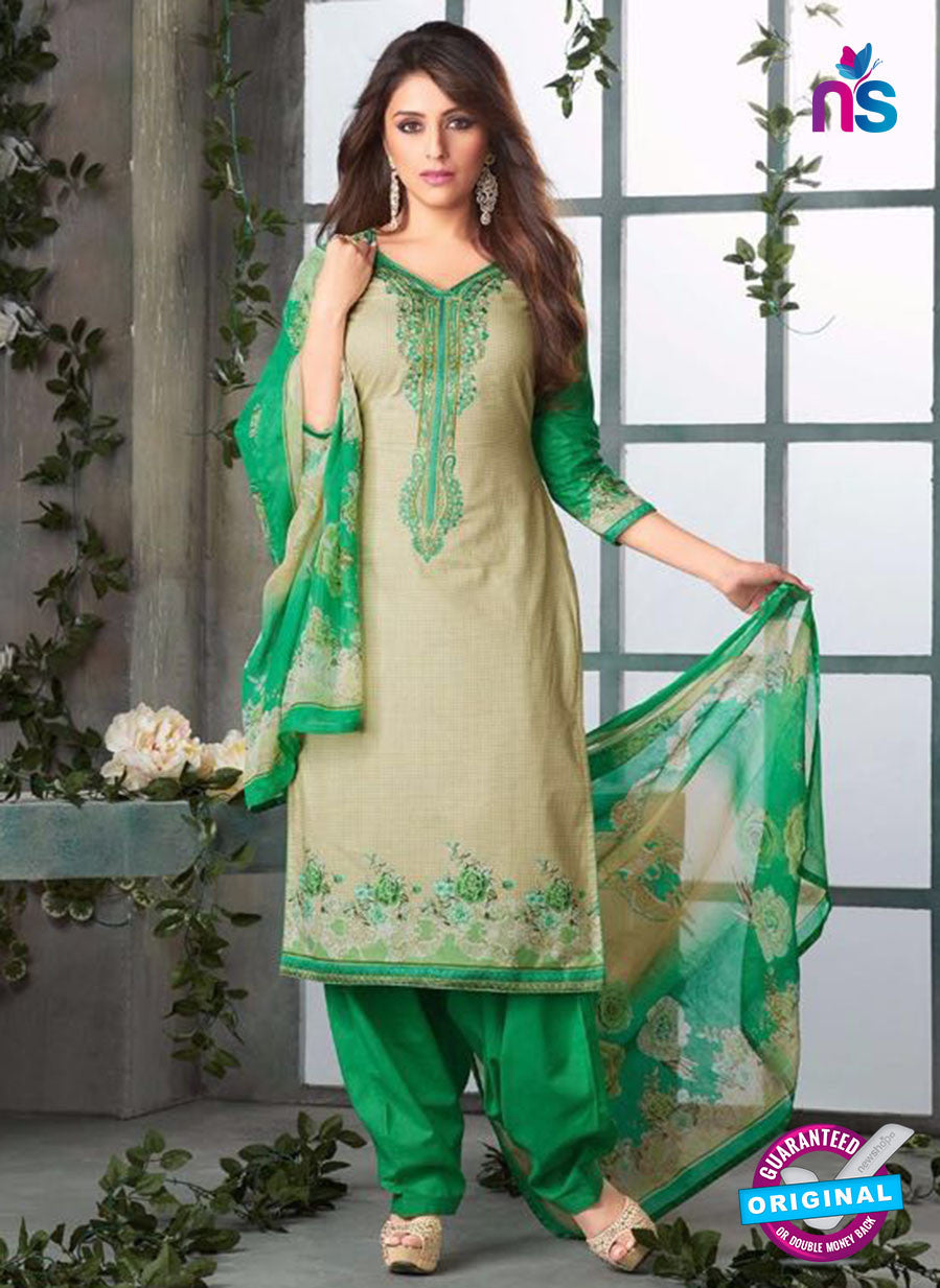 Rakhi-4422B-Green and Beige Color Cotton Designer Suit