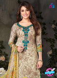 Rakhi-4423B-Beige and Green Color Cotton Designer Suit