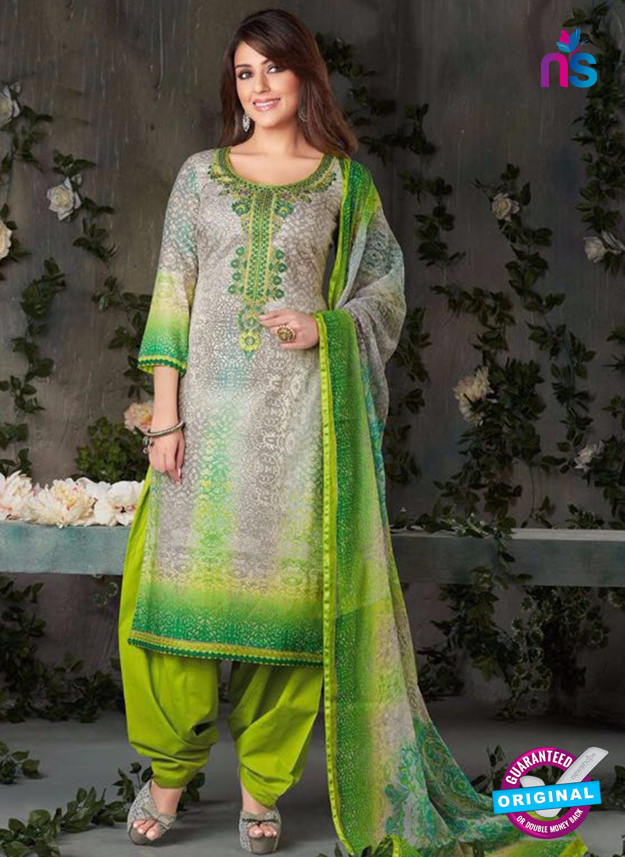 Rakhi-4424B-Grey and Green Color Cotton Designer Suit