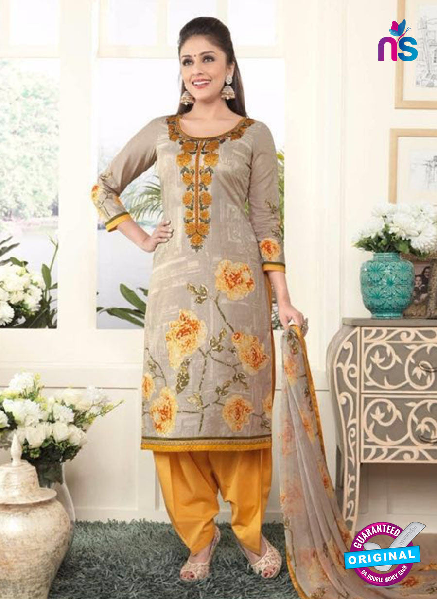 Rakhi 4433B Grey and Yellow Lawn Designer Suit