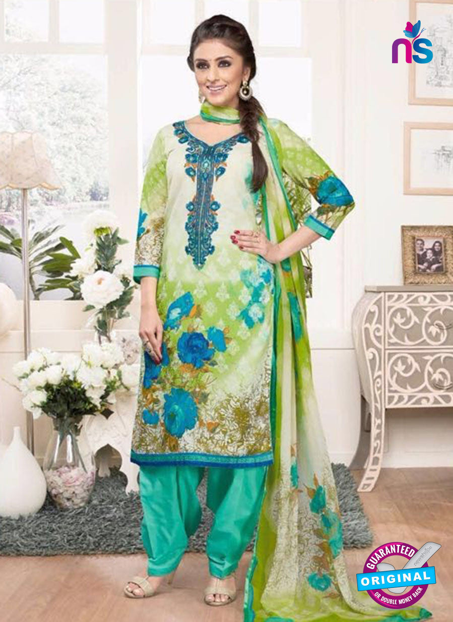 Rakhi 4436B Green and Blue Lawn Designer Suit