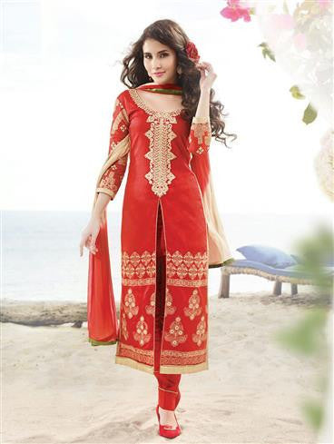 NS11892  Red and Beige Satin Cotton Party Wear Long Straight Suit