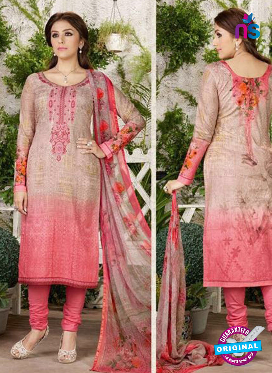 Rakhi 4454 A Beige and Peach Printed glace cotton Suit