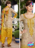 Rakhi 4454 B Beige and Yellow Printed glace cotton Suit