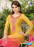 Rakhi 4455 A Yellow and Pink Printed glace cotton Suit