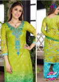 Rakhi 4455 B Green and Blue Printed glace cotton Suit