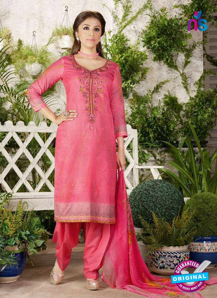Rakhi 4456 A Pink and multicolor Printed glace cotton Suit