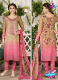 Rakhi 4457 A Beige and Pink Printed glace cotton Suit