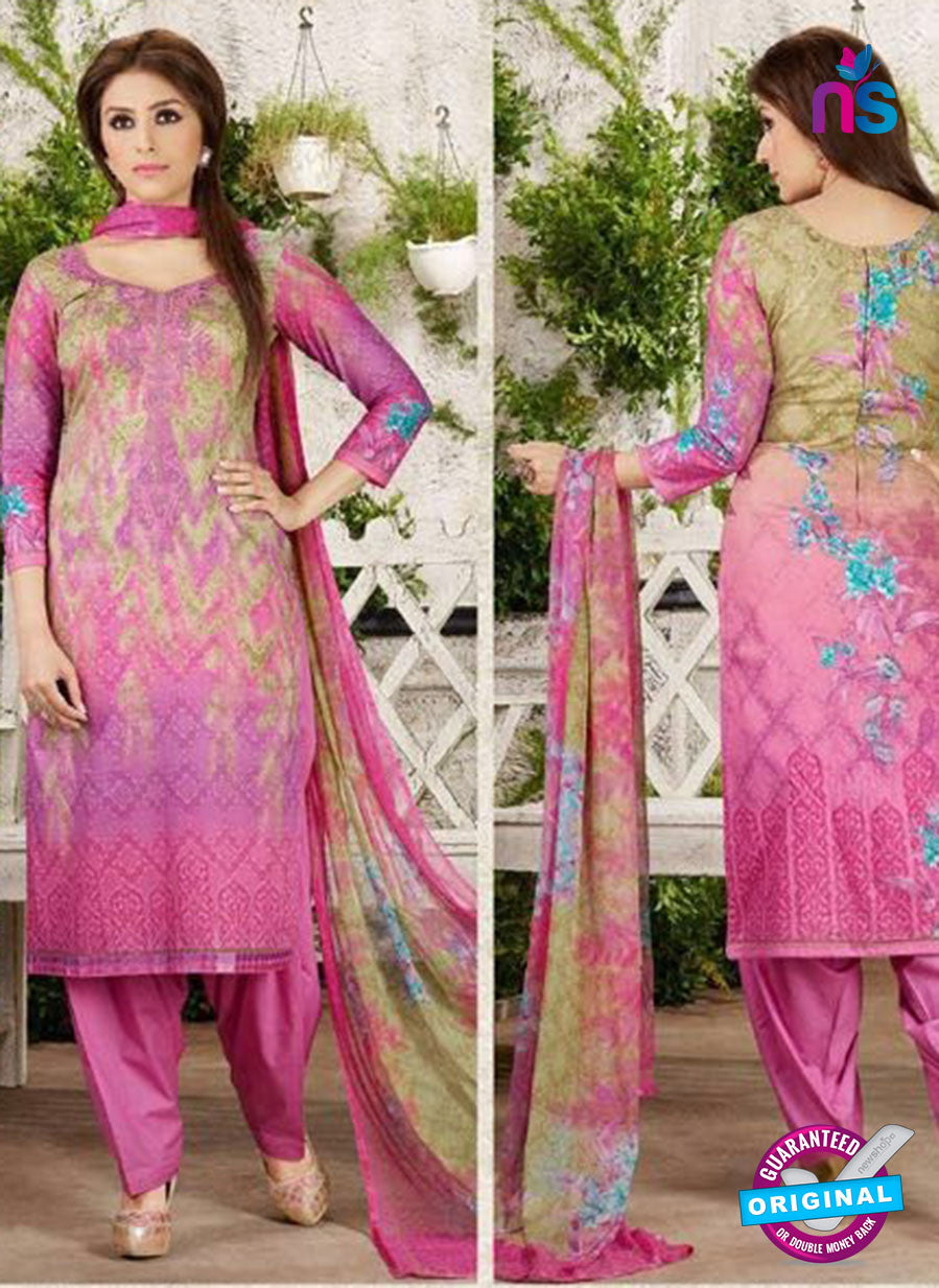Rakhi 4459 A Pink and Multicolor Printed glace cotton Suit
