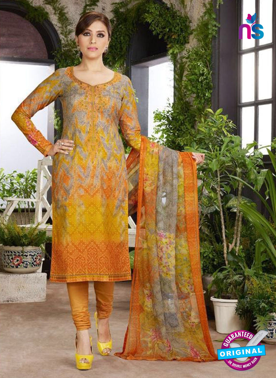 Rakhi 4459 B Yellow and Multicolor Printed glace cotton Suit