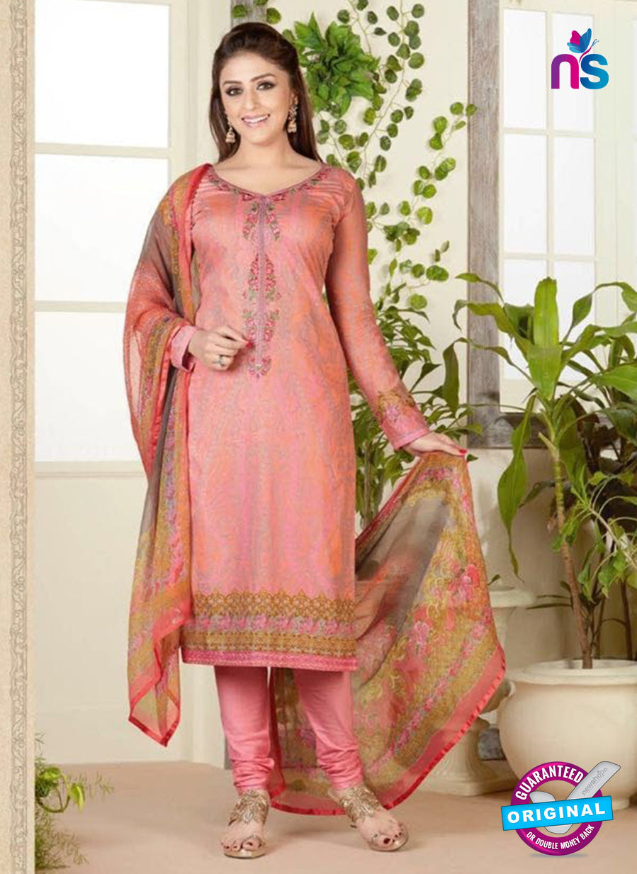Rakhi 4461 A Peach Color Printed Cotton Suit