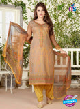 Rakhi 4461 B Beige and Yellow Color Printed Cotton Suit