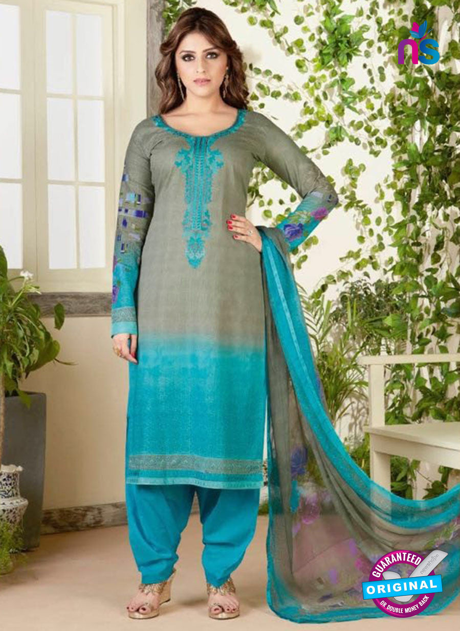 Rakhi 4463 B Grey and Sky Blue Color Printed Cotton Suit