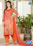 Rakhi 4464 A Orange Color Printed Cotton Suit