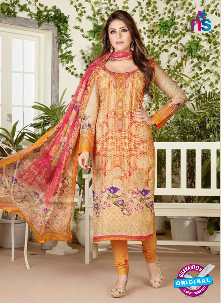 Rakhi 4465 A Beige and Orange Color Printed Cotton Suit