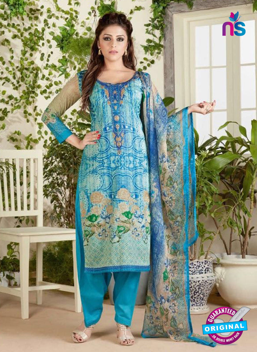 Rakhi 4465 B Sky Blue and Beige Color Printed Cotton Suit