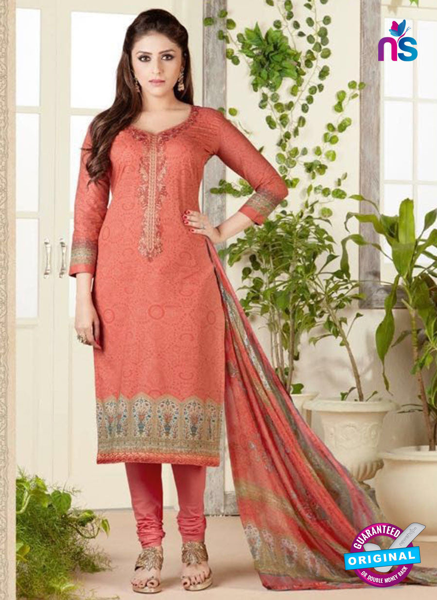 Rakhi 4466 A Peach Color Printed Cotton Suit
