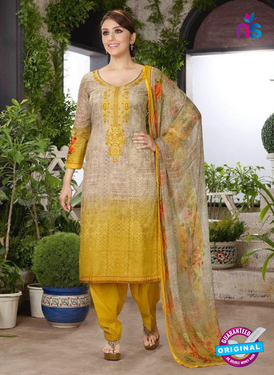 Rakhi 4467 B Beige and Yellow Color Printed Cotton Suit