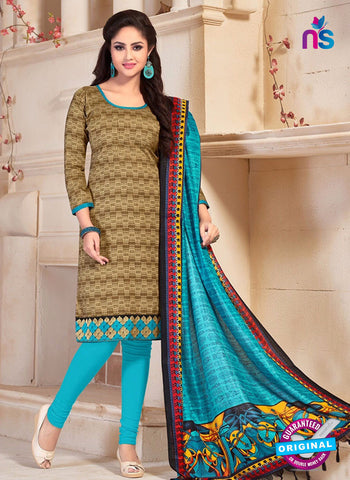 NS10676 Brown and Sky Blue Silk Designer Suit